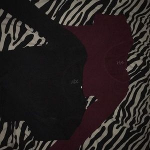 Cropped black and maroon long sleeves